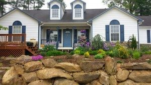 boulder rock-retaining wall