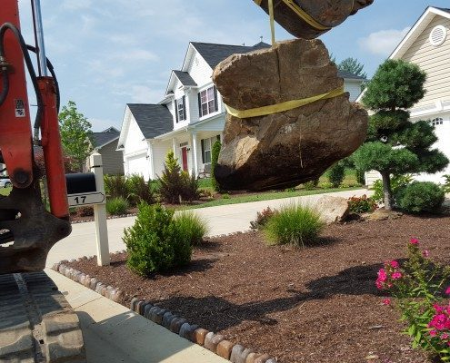 boulders-hillside gardening-landscapes-Asheville landscaper