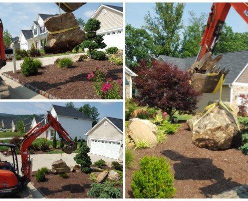 boulders-hillside gardening-landscapes-Asheville landscaper-LawnNOrder