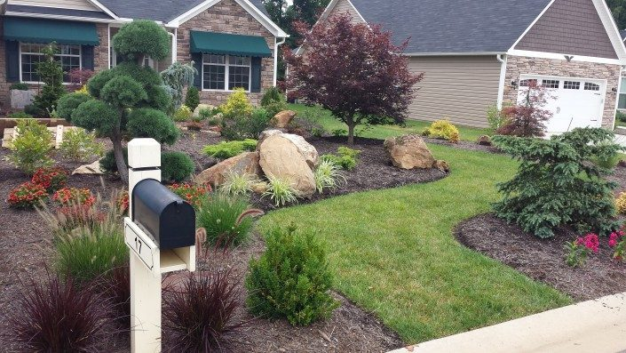 curb appeal-real estate-landscape additions-stone boulders-Japanese maples