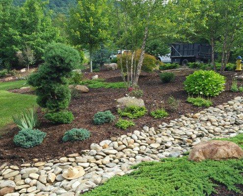 drainage-dry river rock bed-landscaper-Asheville-Weaverville