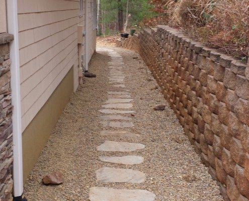flagstone walkway-retaining wall-block wall