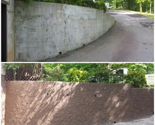 stucco wall-retaining wall-Asheville landscaper