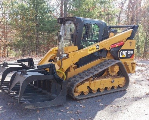 excavation-grading-299D CAT xhp with grapple-tree removal