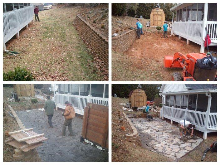 During patio install design-flagstone-Asheville