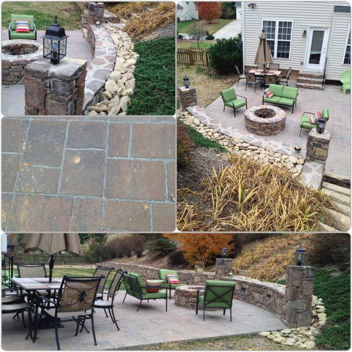 patio-stonework-retaining wall-fire-pit