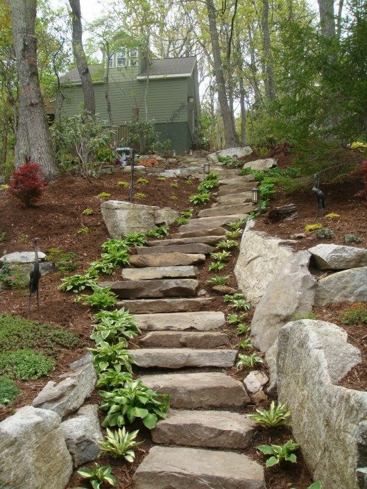 boulders-stone steps-mulch