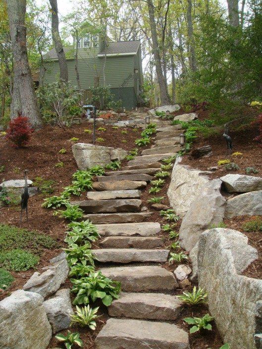 boulders-stone steps-mulch