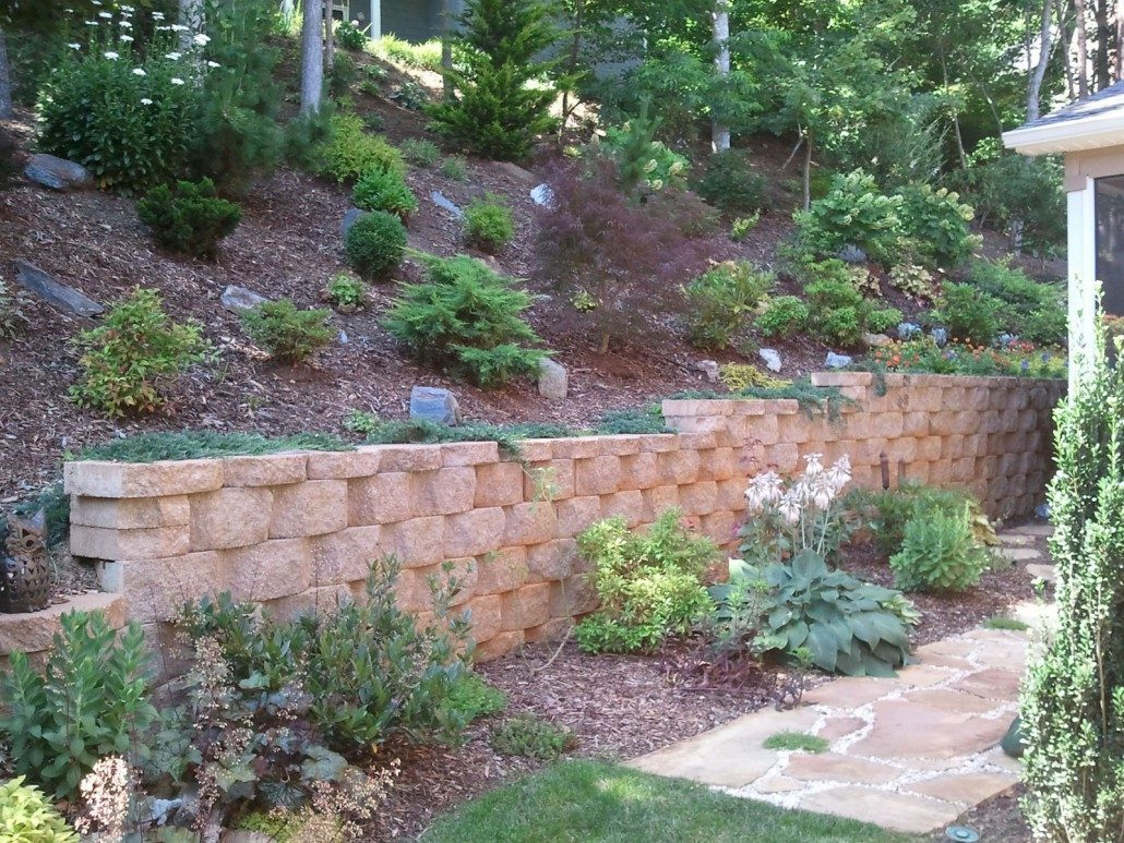 Retaining walls asheville weaverville nc concrete block retaining wall hillside gardening slopes solutioingenieria Images