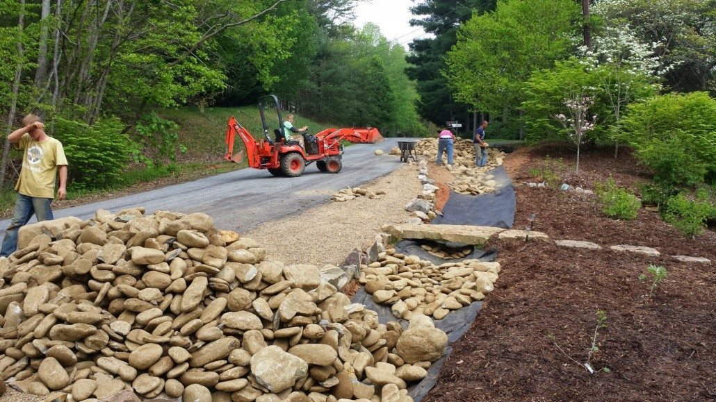 Drainage lawn n order for Laying river rock