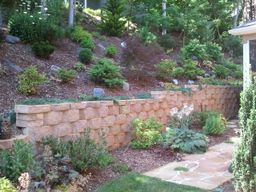 hillside-retaining wall-landscape-patio-backyard