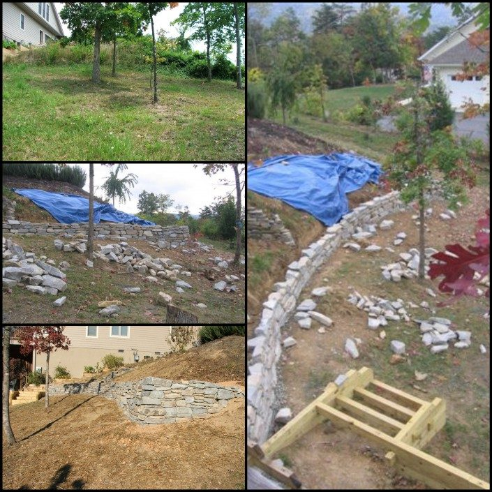 hillside-steep slope-retaining wall-landscapes-Asheville