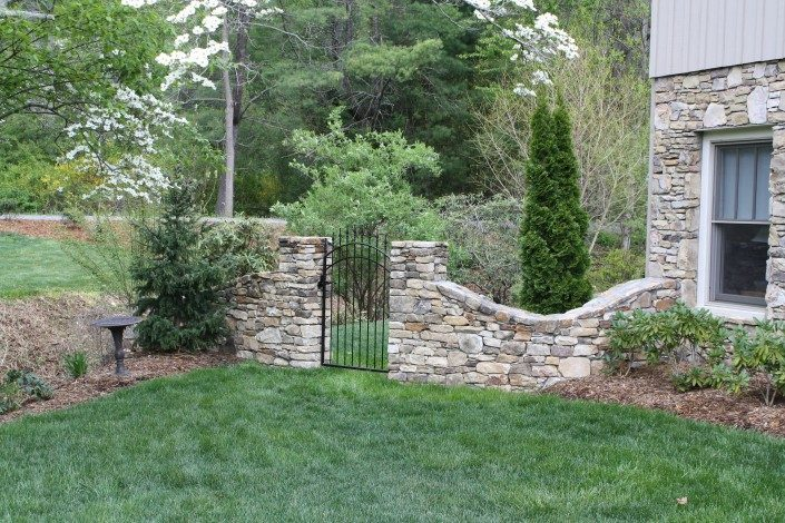 natural stone retaining walls-garden gates-Asheville