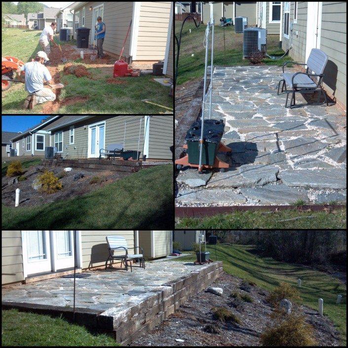 patio-backyard-stone-retaining wall-landscape
