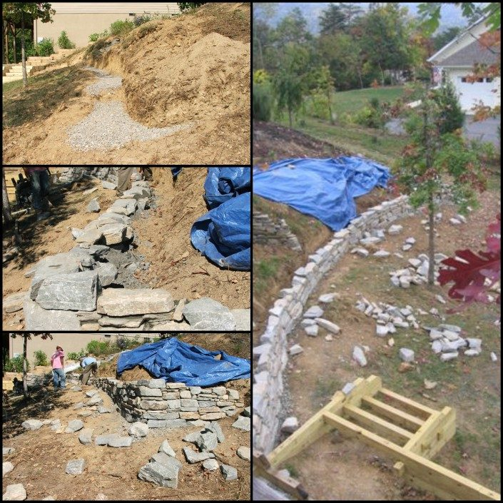 retaining wall-stone-steep slope-landscaper