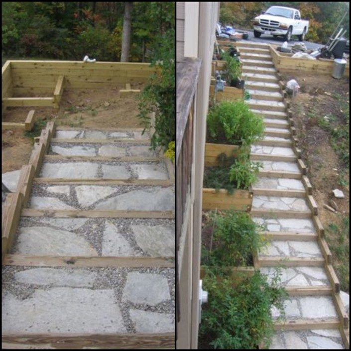 steps-stone-steep slope-hillside-landscaper-Asheville-Weaverville