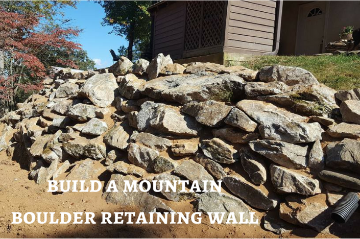 mountain boulder retaining wall